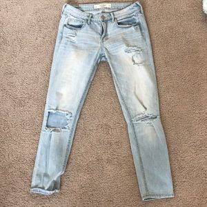 Abercrombie light wash ripped girlfriend jeans